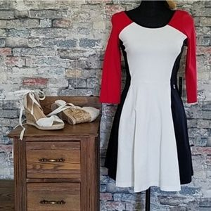 NEW EXPRESS Red White Color Block Dress Small